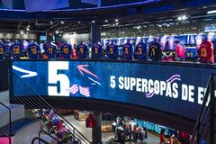 Official Store FC Barcelona , clothing and footwear team of souvenirs and paraphernalia for fans of the team and visitors of the s. BARCELONA, SPAIN - 12 JANUARY royalty free stock images