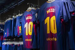 Official Store FC Barcelona , clothing and footwear team of souvenirs and paraphernalia for fans of the team and visitors of the s. BARCELONA, SPAIN - 12 JANUARY royalty free stock photography