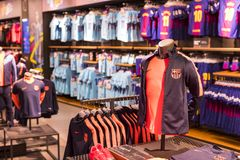 Official Store FC Barcelona , clothing and footwear team of souvenirs and paraphernalia for fans of the team and visitors of the s. BARCELONA, SPAIN - 12 JANUARY Stock Photo