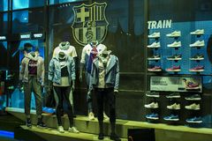 Official Store FC Barcelona , clothing and footwear team of souvenirs and paraphernalia for fans of the team and visitors of the s. BARCELONA, SPAIN - 12 JANUARY Stock Image