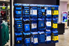 Official Store FC Inter Milan and Milan , clothing and footwear team of souvenirs and paraphernalia for fans of the team and visit. 7 JUNE 2018, MILAN, ITALY stock photography