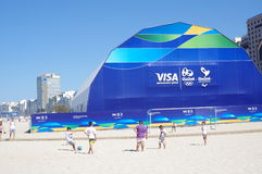 Official store for Rio2016. Merchandise on Copacabana beach in Rio de Janeiro in Brazil royalty free stock images