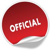 OFFICIAL text on realistic red sticker on white background. Illustration Stock Image