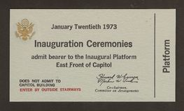 Official Ticket to the Inauguration Richard Nixon. Political memorabilia related to the inauguration of Richard M. Nixon as President of the United Sates. Ticket Royalty Free Stock Photo