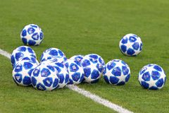 Official UEFA Champions League 2018/19 match balls stock photos