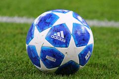 Official UEFA Champions League 2018/19 season match ball. KYIV, UKRAINE - AUGUST 28, 2018: Official UEFA Champions League 2018/19 season match ball on the grass royalty free stock images