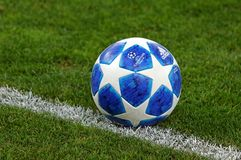 Official UEFA Champions League 2018/19 season match ball. KYIV, UKRAINE - AUGUST 28, 2018: Official UEFA Champions League 2018/19 season match ball on the grass royalty free stock photo
