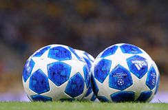 Official UEFA Champions League 2018/19 season match balls. KYIV, UKRAINE - AUGUST 28, 2018: Official UEFA Champions League 2018/19 season match balls on the royalty free stock photography
