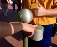 Official USA Orlando Disney World fingerprint scanner. And ticket system. Walt Disney World admission passes using fingerprint scans to track customers entering Stock Photo
