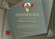 Official vector certificate with dark green, brown triangle design elements. Gold blue emblem with red ribbon, gold text.  Royalty Free Illustration