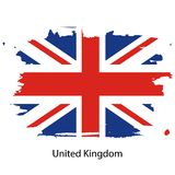 Official vector flag of United Kingdom of Great Britain. In the form of a paint stain vector illustration