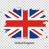 Official vector flag of United Kingdom of Great Britain. In the form of a paint stain on a transparent background stock illustration