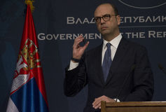 Official visit of Italian Foreign Minister Angelino Alfano to Serbia Royalty Free Stock Images
