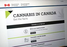 Official web page on Government of Canada site about cannabis. MONTREAL, CANADA - SEPTEMBER 13, 2018: Official web page on Government of Canada site about royalty free stock photos