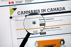 Official web page on Government of Canada site about cannabis. MONTREAL, CANADA - SEPTEMBER 13, 2018: Official web page on Government of Canada site about royalty free stock photography