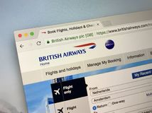 Official website of ba.com. British Airways BA. Almere, Netherlands - May 11, 2018: Official website of ba.com. British Airways BA is the flag carrier and the Royalty Free Stock Photo