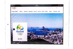 Official website of the 2016 Summer Olympic Games. Bangkok, Thailand - July 31, 2016: Official website of the 2016 Summer Olympic Games in Rio de Janeiro, Brazil Royalty Free Stock Photography