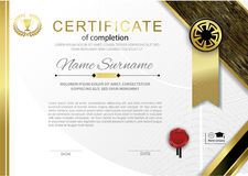 Official white blue certificate with emblem, red wafer and  red blue silk fabric design element. Official white certificate with gold black emblem, gold design Royalty Free Stock Image