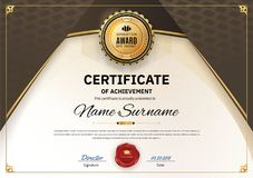 Official white certificate of appreciation award template with wave black and golden shapes and black badge, vector illustration