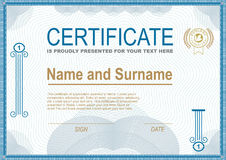 Official white certificate with blue border. And other graphic elements Royalty Free Stock Image