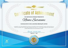Official white certificate with blue triangle design elements. Business clean modern design Royalty Free Stock Images
