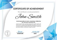 Official white certificate with blue triangle design elements, crown. Business clean modern design Stock Photo