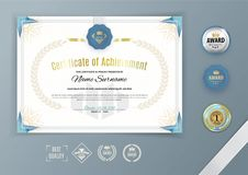 Official white certificate with blue triangle, ornamental design elements. Business clean design. Vector template with set of ebml Stock Photos