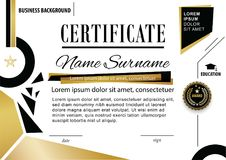 Official white certificate. Business template. Gold black design elements on white background. Official white certificate. Business template. Gold black Stock Images
