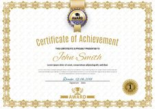 Official white certificate of a4 format with beige border, gold emblem, Official simple blank. Official white certificate of a4 format with beige border, gold stock illustration