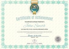 Official white certificate of a4 format with green border, gold emblem, Official simple blank.  stock illustration