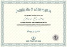 Official white certificate of a4 format with green guilloche border. Official simple blank.  Stock Illustration