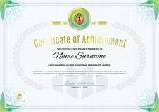 Official white certificate with green triangle design elements. Business clean modern design Stock Image