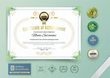 Official white certificate with green triangle design elements. Business clean modern design. Set of emblems Royalty Free Stock Photos