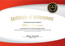 Official white certificate with red wave design elements, black emblem. Business clean modern design. White vector blank vector illustration
