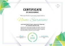 Free Official White Certificate With Green Triangle Design Elements. Business Clean Modern Design Stock Photos - 115602423