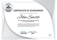 Official white certificatewith white grey design elements. Business clean modern design, silver emblem Royalty Free Stock Photography