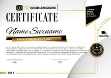 Official white modern certificate with abstract black gold design elements. Black emblem,. Business template Royalty Free Stock Image