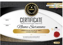 Official white modern certificate with abstract gold design elements. Official white modern certificate with abstract  gold design elements. Black emblem Royalty Free Stock Image