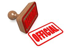 Official word on wooden stamp Royalty Free Stock Images