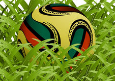 Official world cup 2010 ball. Between grass royalty free illustration