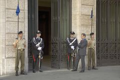 Officials and guards standing outside government building, Rome, Italy, Europe Royalty Free Stock Photography