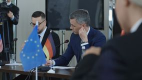 Officials preparing for international summit stock footage