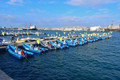 Officials And Press Boats Volvo Ocean Race Alicante 2017 Royalty Free Stock Photos