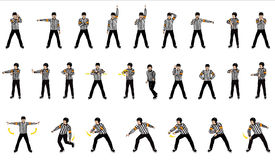 Officials Signals. The Officials Hand Signals 26 different signals is illustrated Stock Photography