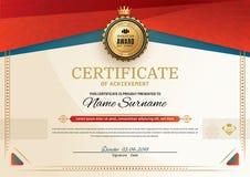 Officieel certificaat met rode turkooise vierkante ontwerpelementen Rood lint en gouden embleem Uitstekende moderne spatie vector illustratie