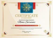 Officieel certificaat met rode turkooise vierkante ontwerpelementen Uitstekende moderne spatie vector illustratie