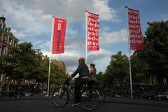 Officieel merk van de stad in Amsterdam, Nederland Stock Foto's