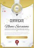 Officieel zwart certificaat met kenteken en wafeltje Vector Malplaatje Gouden ontwerpelementen Officiële zwarte spatie Elegan zak stock illustratie