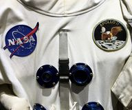 Officiell astronautApollo 11 spacesuit Arkivfoton