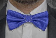 Officiell flagga för europeisk union på dräkt för bowtieaffärsman royaltyfri fotografi
